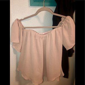 Blush Pink TCEC Off the Shoulder Flowy Blouse